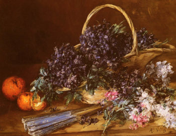 A Still Life With A Basket Of Flowers | Antoine Vollon | Oil Painting