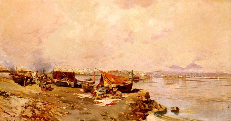 Fishermens Tasks In The Bay Of Naples | Carlo Branaccio | Oil Painting