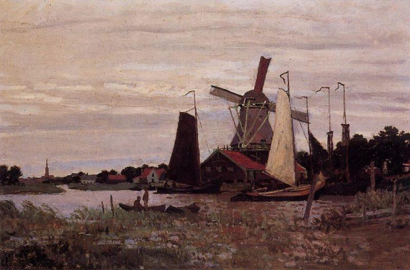 A Windmill at Zaandam 1871   Claude Monet   Oil Painting
