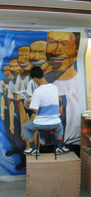 Artists Working at Ocean's Bridge