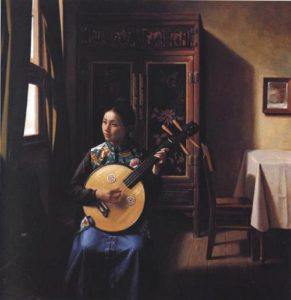 Girl with Stringed Intrument | Jian Lin Guan 001 | Oil Painting