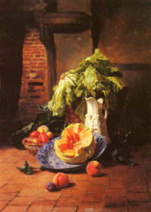 A Still Life With A White Porcelain Pitcher Fruit And Vegetables | David Emile Joseph De Noter | Oil Painting