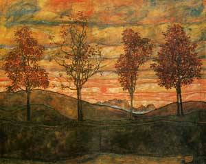 Four Trees 1917 | Egon Schiele | Oil Painting