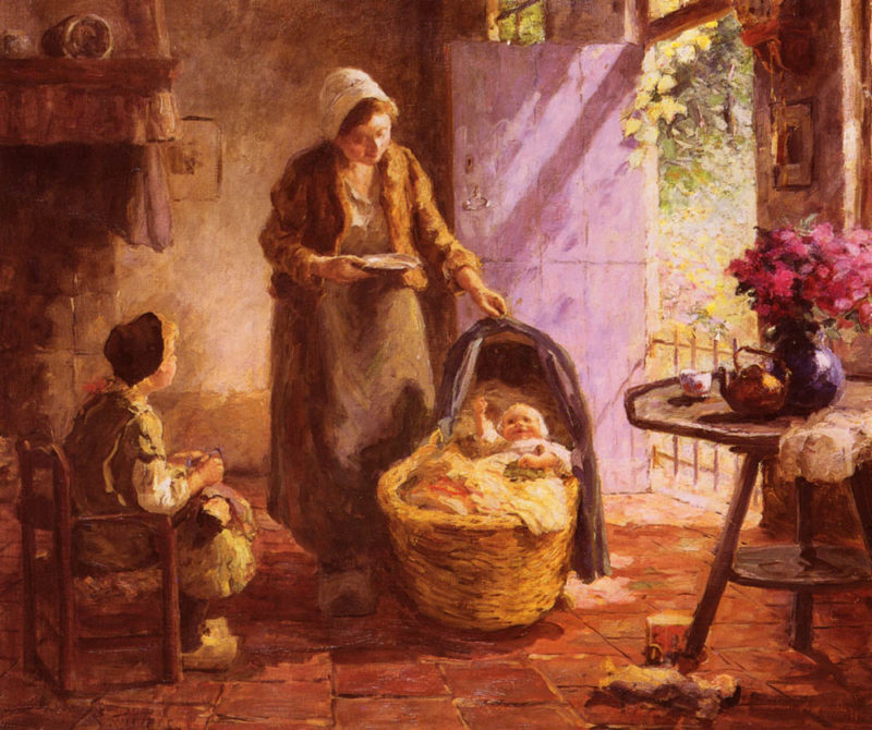 Feeding The Baby | Evert Pieters | Oil Painting