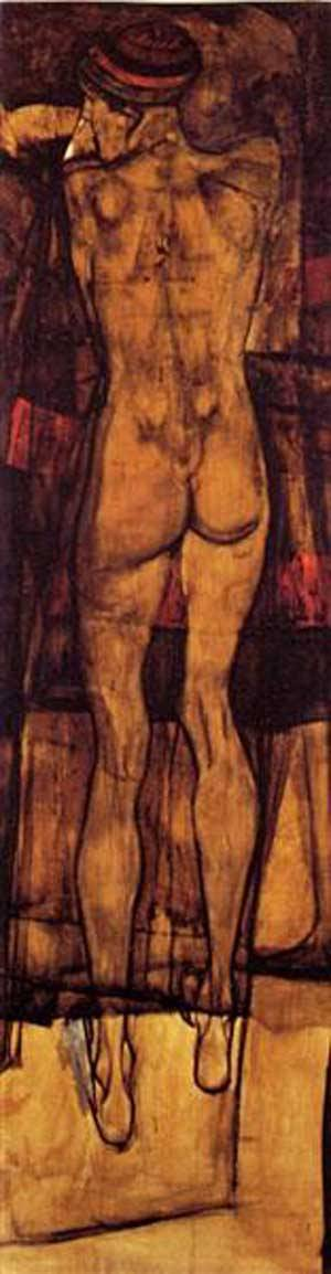 Female Nude Back View   Egon Schiele   Oil Painting