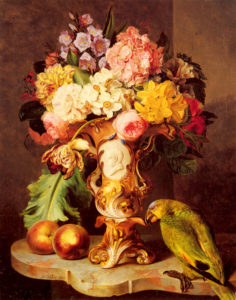 A Still Life With A Vase Of Assorted Flowers Peaches And A Parrot On A Marble Ledge | Ferdinand Kuss | Oil Painting