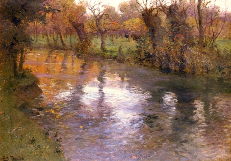 An Orchard On The Banks Of A River | Frits Thaulow | Oil Painting