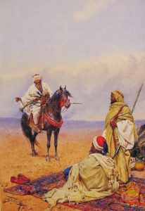 A Horseman Stopping At a Bedouin Camp | Giulio Rosati | Oil Painting
