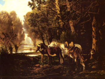 A Horse and Donkeys Awaiting the Faggot Gatherer | Giuseppe Palizzi | Oil Painting