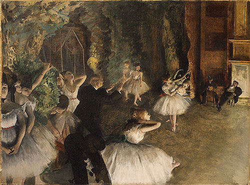 The Rehearsal of the Ballet Onstage probably 1874 | Edgar Degas | Oil Painting