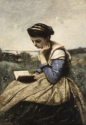 A Woman Reading 1869 background repainted at a later date | Jean Baptiste Camille Corot | Oil Painting