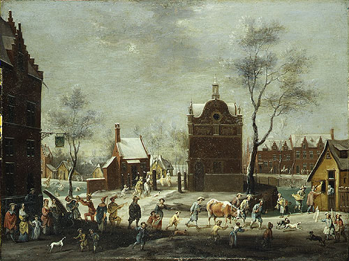 A Winter Carnival in a Small Flemish Town   Peeter Gysels   Oil Painting