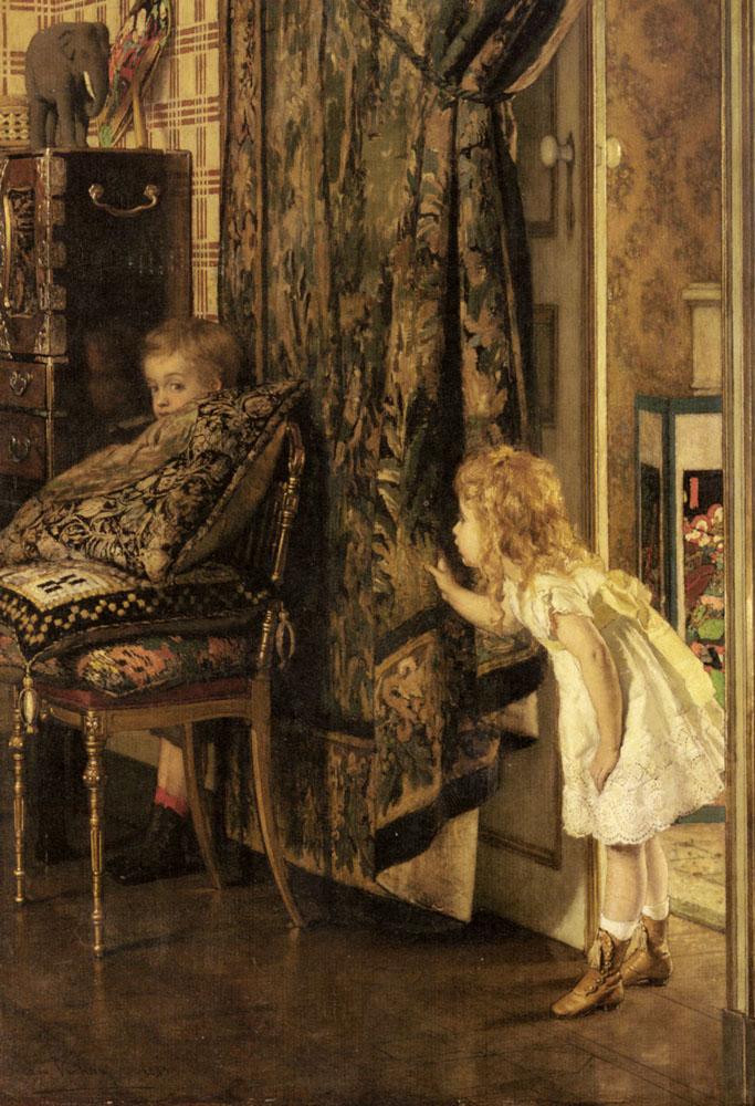 Hide And Seek   Jan Francios Verhas   Oil Painting
