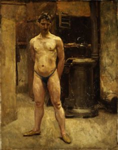 A Male Model Standing before a Stove | John Singer Sargent | Oil Painting