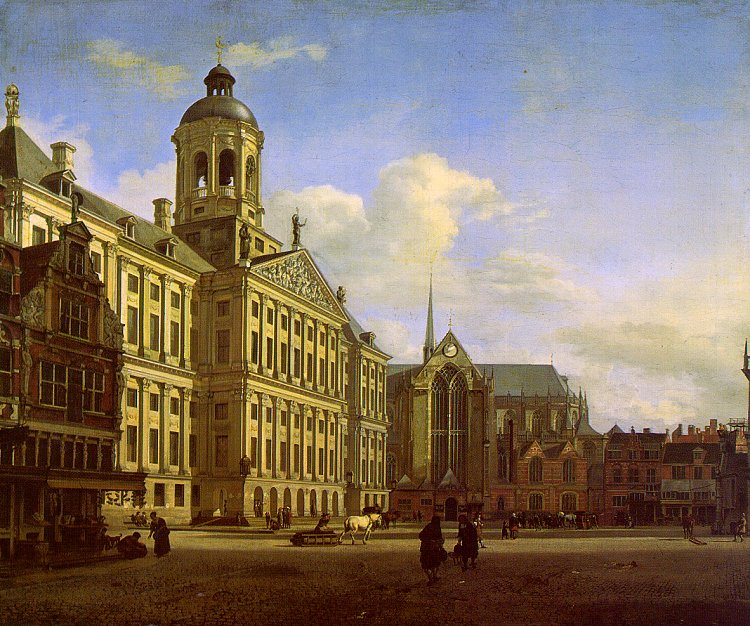 The Dam With The New Town Hall In Amsterdam 1668 | Jan Van Der Heyden | Oil Painting