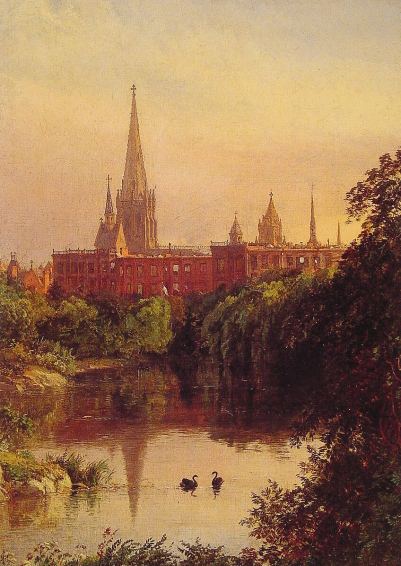 A View in Central Park   Jasper Francis Cropsey   Oil Painting