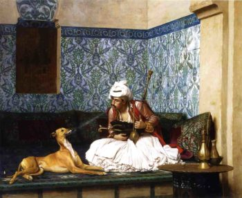 Arnaut Blowing Smoke in His Dog's Nose 1882 | Jean Leon Gerome | Oil Painting
