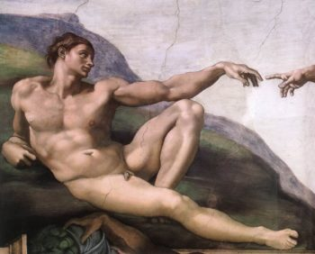 Creation Of Adam(Detail-1) 1510 Cappella Sistina Vatican | Michaelangelo | Oil Painting