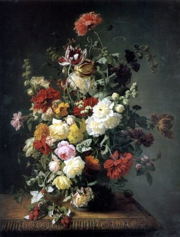 A Still Life WIth Flowers And Wild Raspberries | Jean Simon Saint | Oil Painting