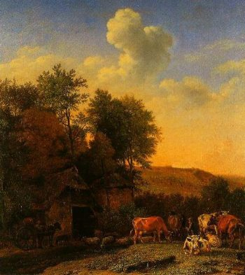 A Landscape With Cows Sheep And Horses By A Barn 1651 | Paulus Potter | Oil Painting