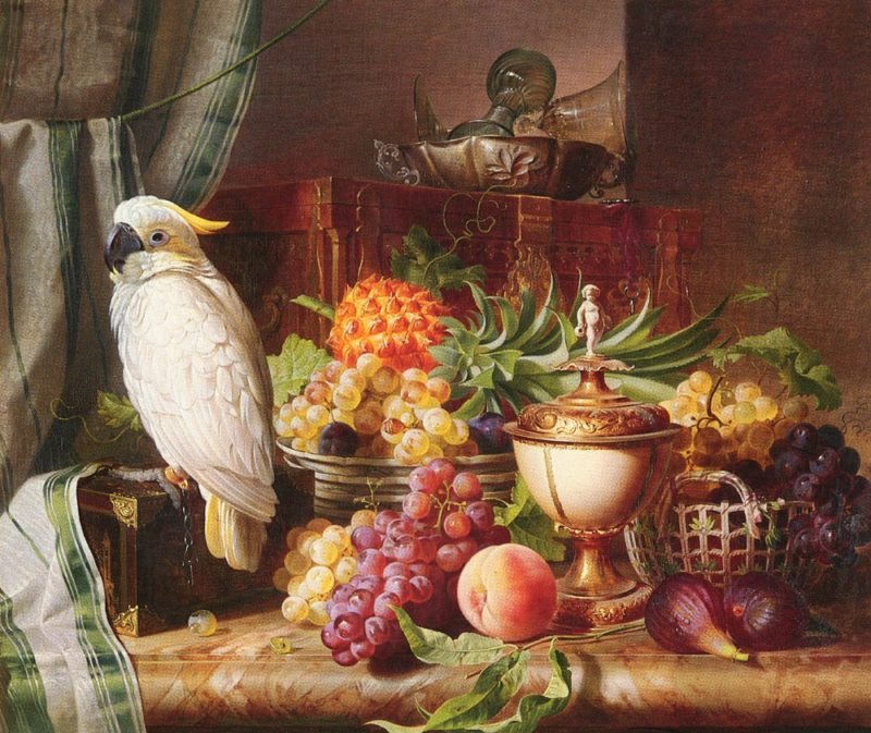 Still Life with a Fruit and a Cockatoo | Josef Schuster | Oil Painting