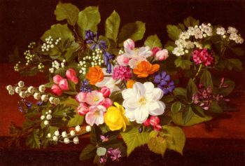 A Bouquet of Spring Flowers on a Ledge | Otto Didrik Ottesen | Oil Painting