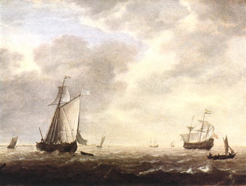 A Dutch Man Of War And Various Vessels In A Breeze 1642 | Simon De Vlieger | Oil Painting