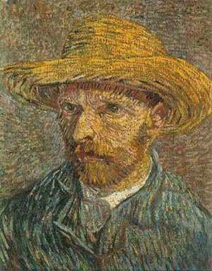 Self Portrait With Straw Hat 1888 | Vincent Van Gogh | oil painting