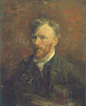 Self Portrait With Pipe And Glass 1887   Vincent Van Gogh   oil painting