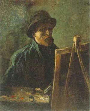 Self Portrait With Dark Felt Hat At The Easel 1886 | Vincent Van Gogh | oil painting