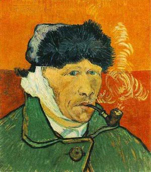 Self Portrait With Bandaged Ear And Pipe 1889   Vincent Van Gogh   oil painting
