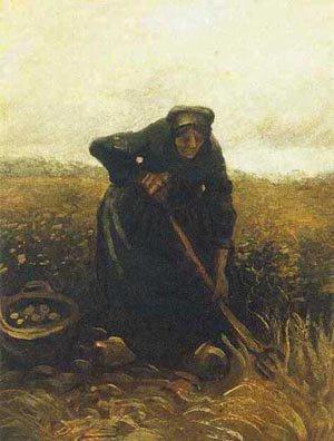 Peasant Woman Digging Up Potatoes 1885 | Vincent Van Gogh | oil painting
