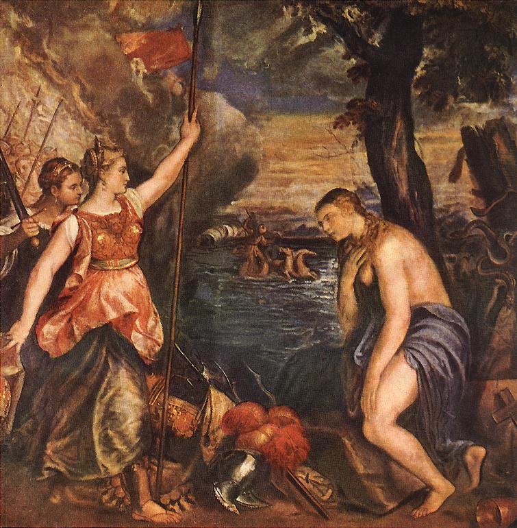 Religion Helped By Spain 1571   Vecellio Tiziano   oil painting