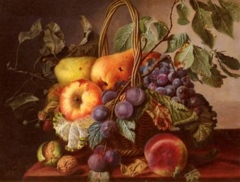 A Still Life With A Basket Of Fruit | Virginie De Sartorius | oil painting