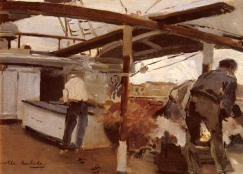 Two Men On A Deck | Joaquin Y Bastida Sorolla | oil painting