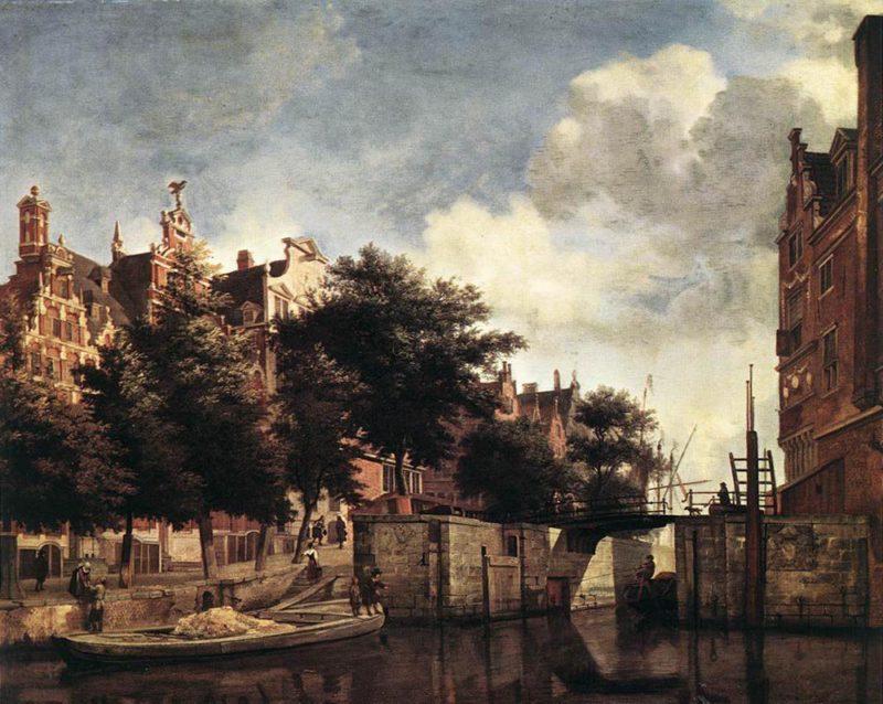 The Martelaarsgracht in Amsterdam 1670   Jan van der Heyden   oil painting