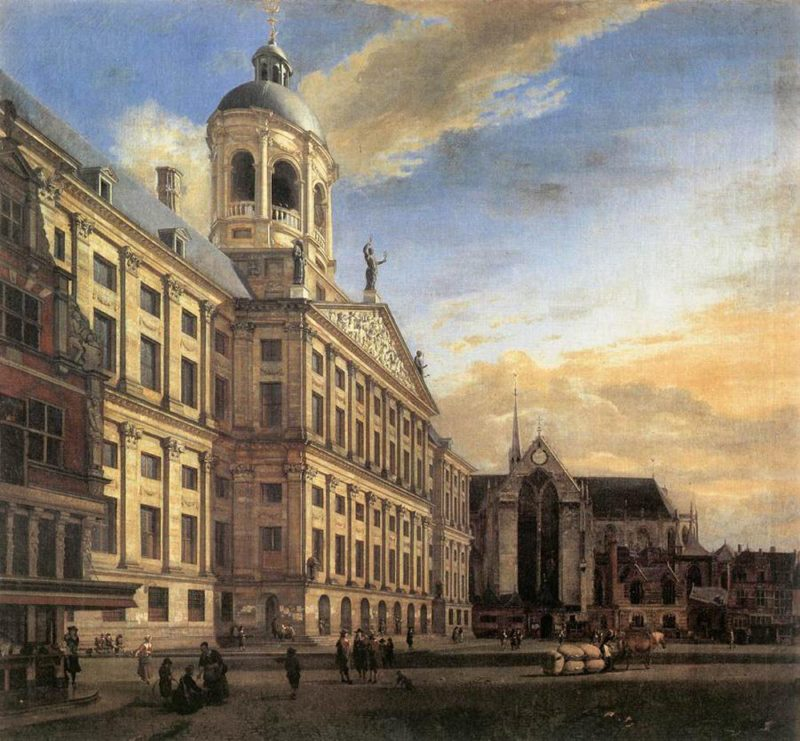 Amsterdam Dam Square with the Town Hall and the Nieuwe Kerk 1667 | Jan van der Heyden | oil painting