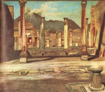 Pompeji Have (House of the Chirurgus with the Vesuv) 1897 98 | Kosztka Tivdar Csontvary | oil painting