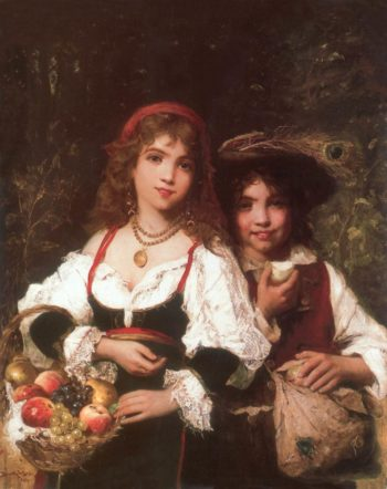 Fruit Sellers c 1880 | Lajos Bruck | oil painting