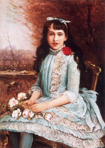 Girl in Blue Dress with Roses | Lajos Bruck | oil painting