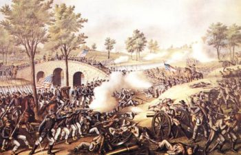 The Battle Of Antietam 1862 | Currier Ives N D | oil painting