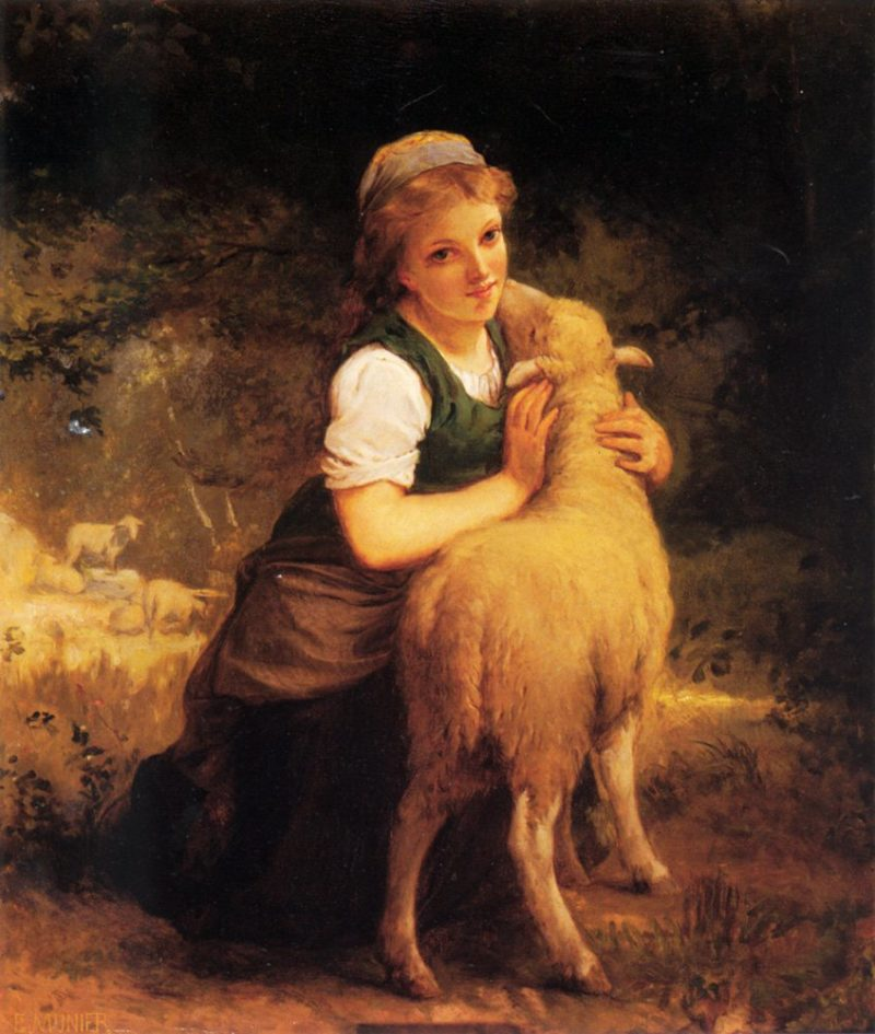 Young Girl with Lamb | Emile Munier | oil painting