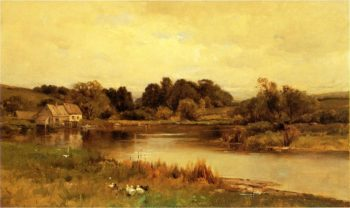 Mill Pond at Ridgefield Connecticut Date unknown | George Henry Smillie | oil painting