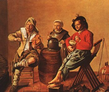 Two Boys and a Girl Making Music | Jan Miense Molenaer | oil painting