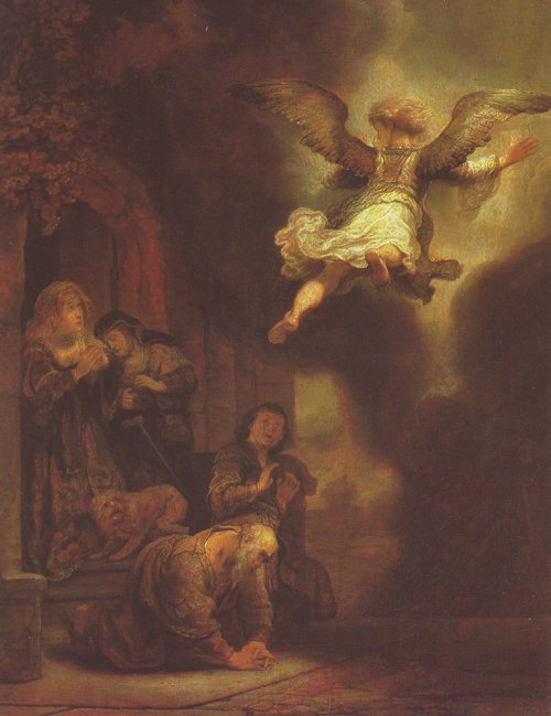 The Archangel Leaving The Family Of Tobias | Rembrandt | oil painting
