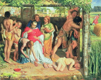 A Converted British Family Sheltering a Christian Priest from the Persecution of the Druids 1850 | William Holman Hunt | oil painting