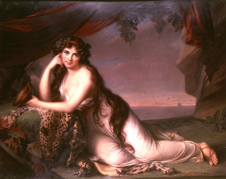 Lady Hamilton as a Bacchante after Louise Elizabeth Vigee Lebrun | Henry Bone | oil painting