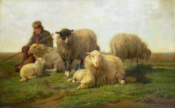 A Shepherd with Sheep and Lambs   Cornelis van Leemputten   oil painting