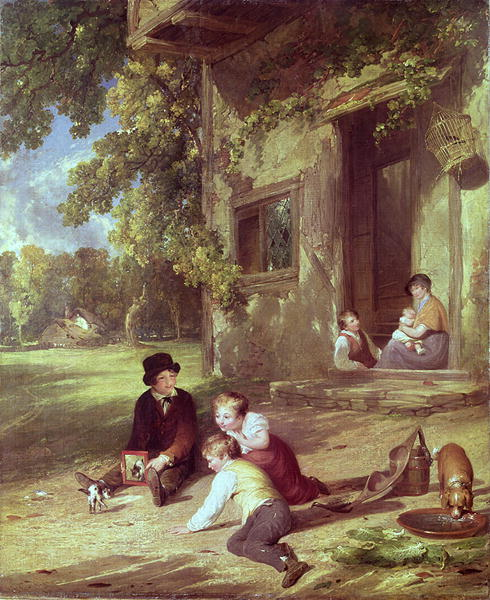 The Kitten Deceived 1816   William Collins   oil painting