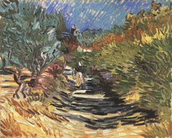 A Road at Saint-Remy with Female Figure | Vincent Van Gogh | oil painting